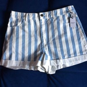 Forever 21 Striped shorts white and baby blue